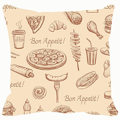 Throw Pillow Covers Fast Food Sketches Isolated Pizza and Drink Cotton Linen Cushion Cover Cases Pillowcases Sofa Home Decor 18