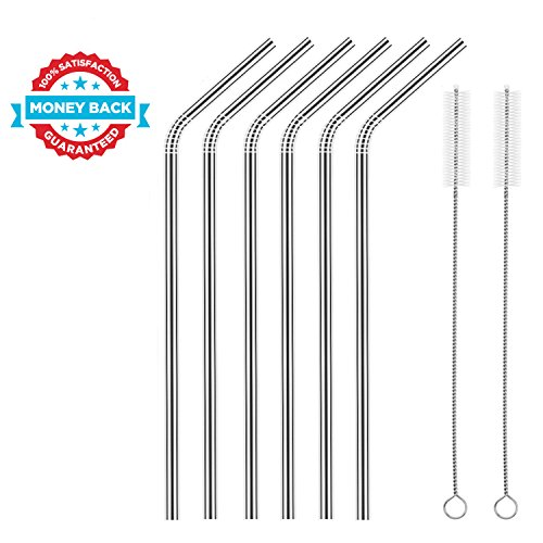 Stainless Steel Straws FDA-Approved Stainless Straws Reusable Set of 6, 10.5