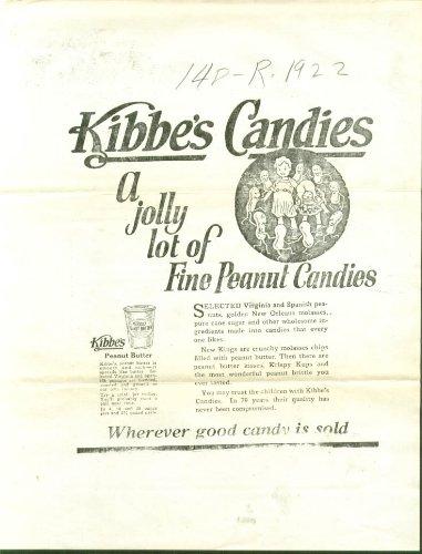 Kibbe's Peanut Candies ad proof 1923