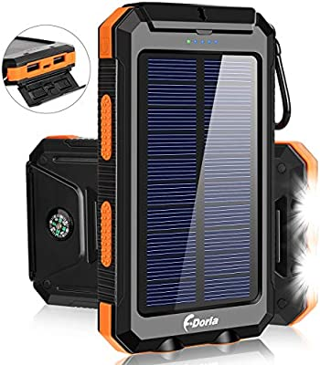Solar Charger,F.DORLA 20000mAh Portable Outdoor Waterproof Mobile Power Bank,Camping External Backup Battery Pack Dual USB 5V 1A/2A Output 2 Led Light ...