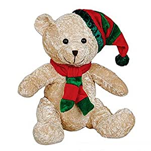 """10.5"""" Christmas Bear Plush, Tan. One Dozen."""