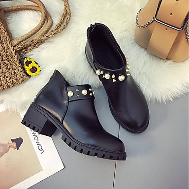 Casual Boots Black UK6 EU39 Spring Pu Chunky Ankle Boots Shoes Boots Brown Dark Comfort Fall Booties Fashion Heel CN39 RTRY Toe For Round Women'S US8 qfZFRRT
