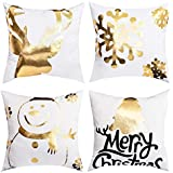 BLEUM CADE Christmas Bronzing Pillow Cover Elk Snowflakes Snowman and Christmas Tree Throw Pillow Case Modern Cushion Cover Square Pillowcase Decoration for Christmas Sofa Bed Chair Car or Daily Use