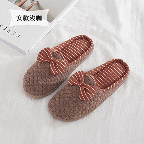 Fankou grazioso inverno pantofole di cotone morbido femmina metà inferiore con piscina coperta anti-slittamento home scarpe caldo autunno ,37-38, blu scuro