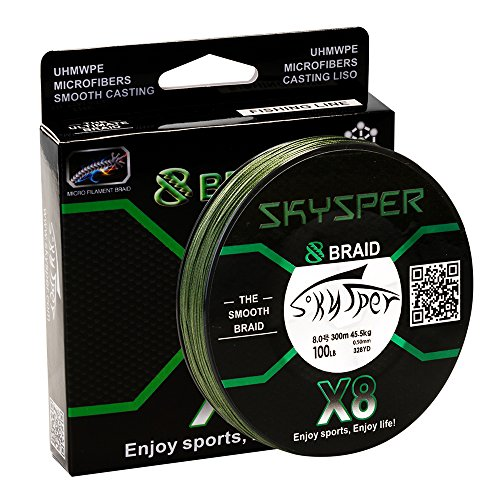 Skysper X8 300m/328-Yards PE 8 Strands Super Strong Braided Fishing Line 20-100LB