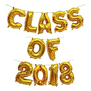 Treasures Gifted Gold 16 Inch Class of 2018 Graduation Party Supplies Decor Mylar Congrats Balloons Congratulations Banner Kit Foil Sets of Celebration Numbers for Decorations