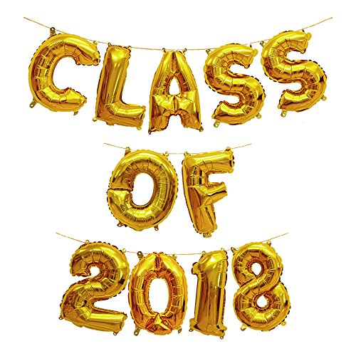 Treasures Gifted Gold 16 Inch Class of 2018 Graduation Party Supplies Decor Mylar Congrats Balloons Congratulations Banner Kit Foil Sets Celebration Numbers for -