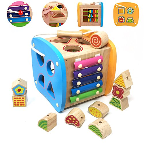 Lewo Wooden Shapes Sorter Activity Centers Lacing Beads Early Development Toys for Toddlers by Lewo