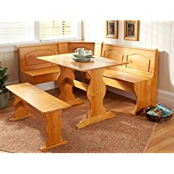 Dining Nook Solid Pine Breakfast Set in Natural Finish with Traditional Styling. Great for Eat-in Dining Kitchens Dining Room Table with Three Benches with Backs and One Backless Bench