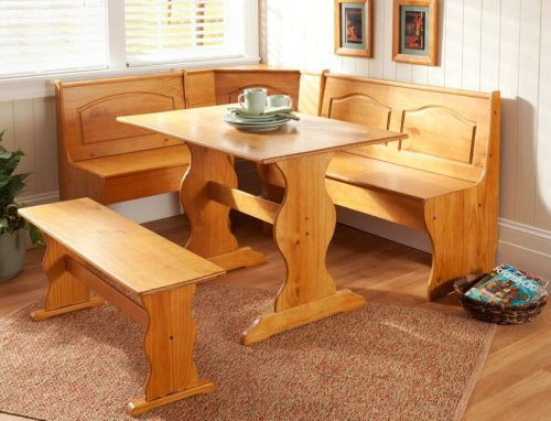 Dining Nook Solid Pine Breakfast Set in Natural Finish with Traditional Styling. Great for Eat-in Dining Kitchens Dining Room Table with Three Benches with Backs and One Backless Bench (Dining Sets Breakfast Nook)