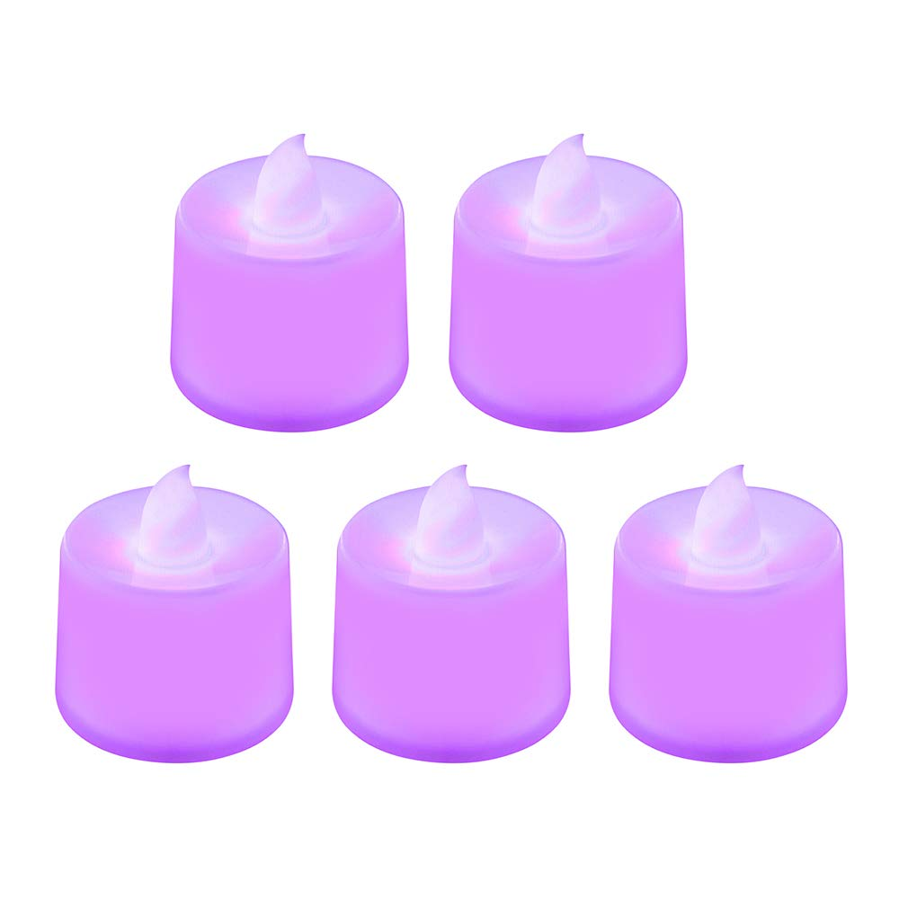 Ruimin 5pcs/Set Purple Flickering Unscented Flameless Candles LED Tea Light for Parties Weddings and Decorations