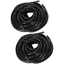 uxcell 2pcs 8mm Dia 9M Long Flexible Spiral Tube Wrap Cable Wire Organizer Management Black
