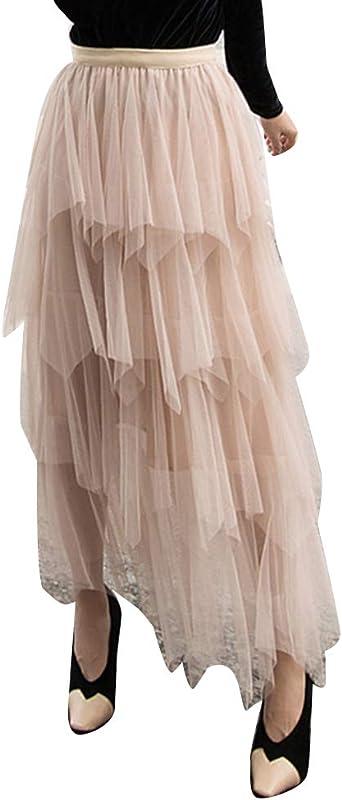 Guiran Femmes Jupe Longue Tulle Plissée Haute Taille: Amazon