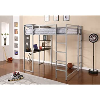 DHP Abode Full-Size Loft Bed Metal Frame with Desk and Ladder, Silver