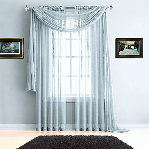 (Warm Home Designs Pair of Premium Quality 54 x 72 Inch Sheer Silver Faux-Linen Rod Pocket Curtains. Total Width of These Affordable Drape Panels is 108
