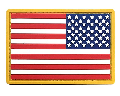Gold Border American Flag PVC Patch with Velcro - REVERSE -