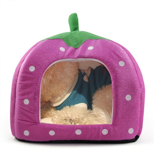 SODIAL(R) Soft Esponja Fresa los Mascotas Cama Cojin Casa de la perrera perrito Basket Pillow Pink - S
