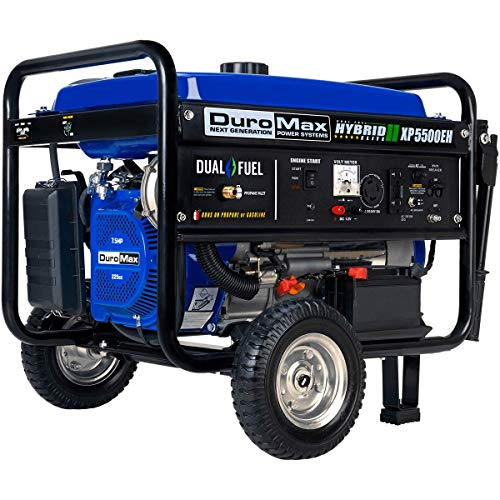 DuroMax XP5500EH Dual Fuel Portable Generator - 5500 Watt Gas or Propane Powered-Electric Start- Camping & RV Ready, 50 State Approved