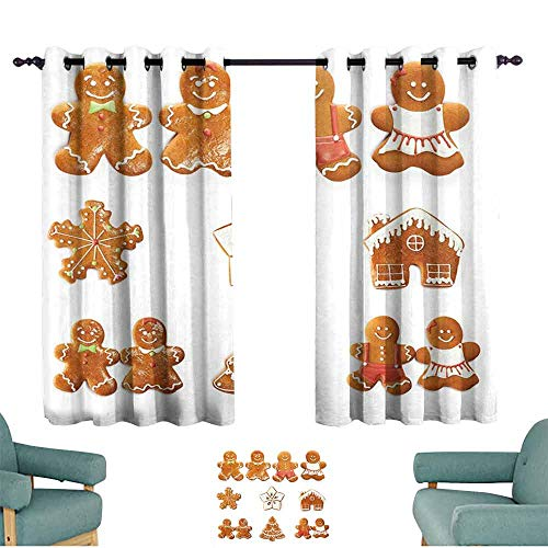 Gingerbread Man Curtain for Kids Vivid Cute Christmas Gingerbread Biscuits Set Snowflake House Tree Darkening and Thermal Insulating 55