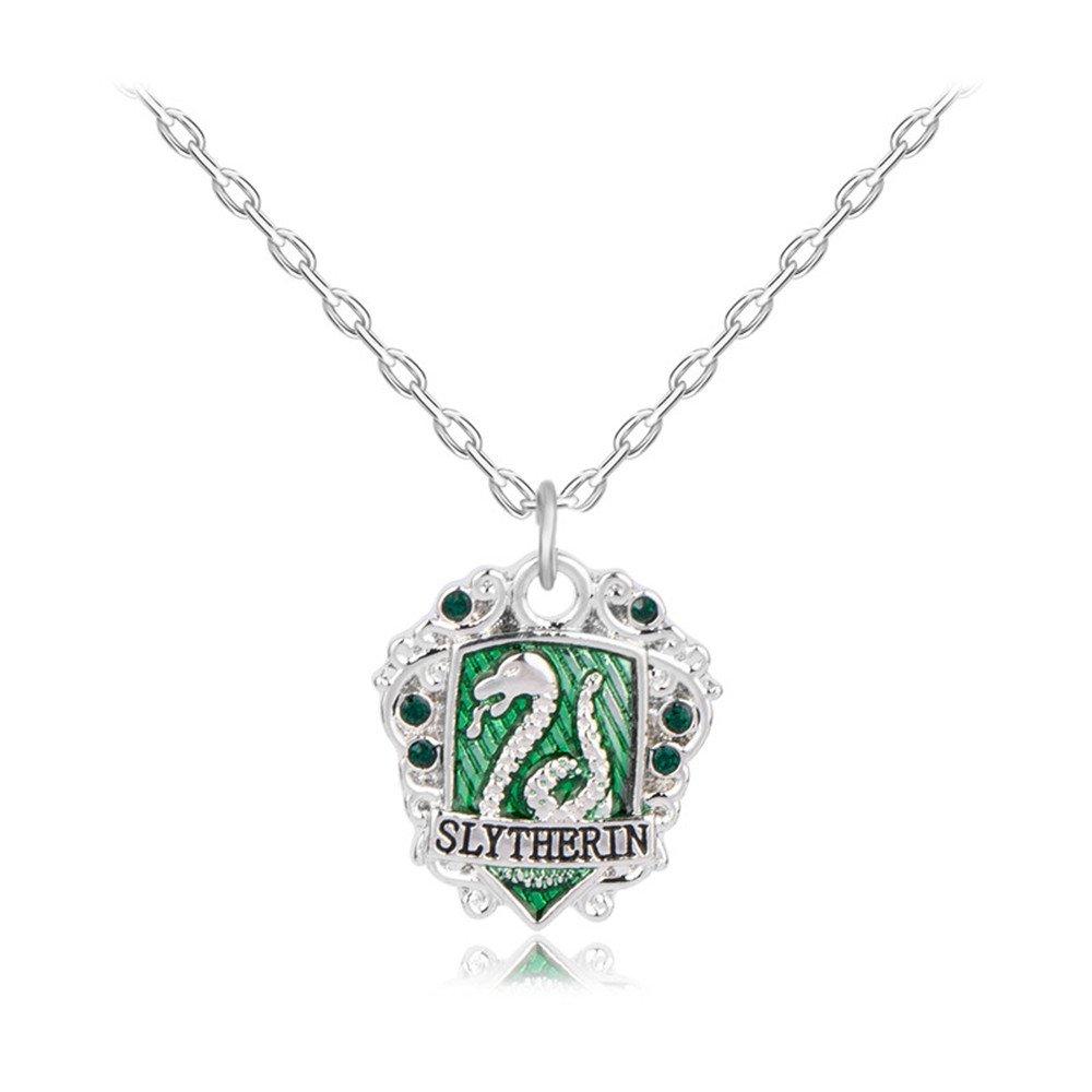 lan27 Harry Potter Slythrin Gryffindor Ravenclaw Hufflepuff School Badge Charm Necklace (Slythrin)