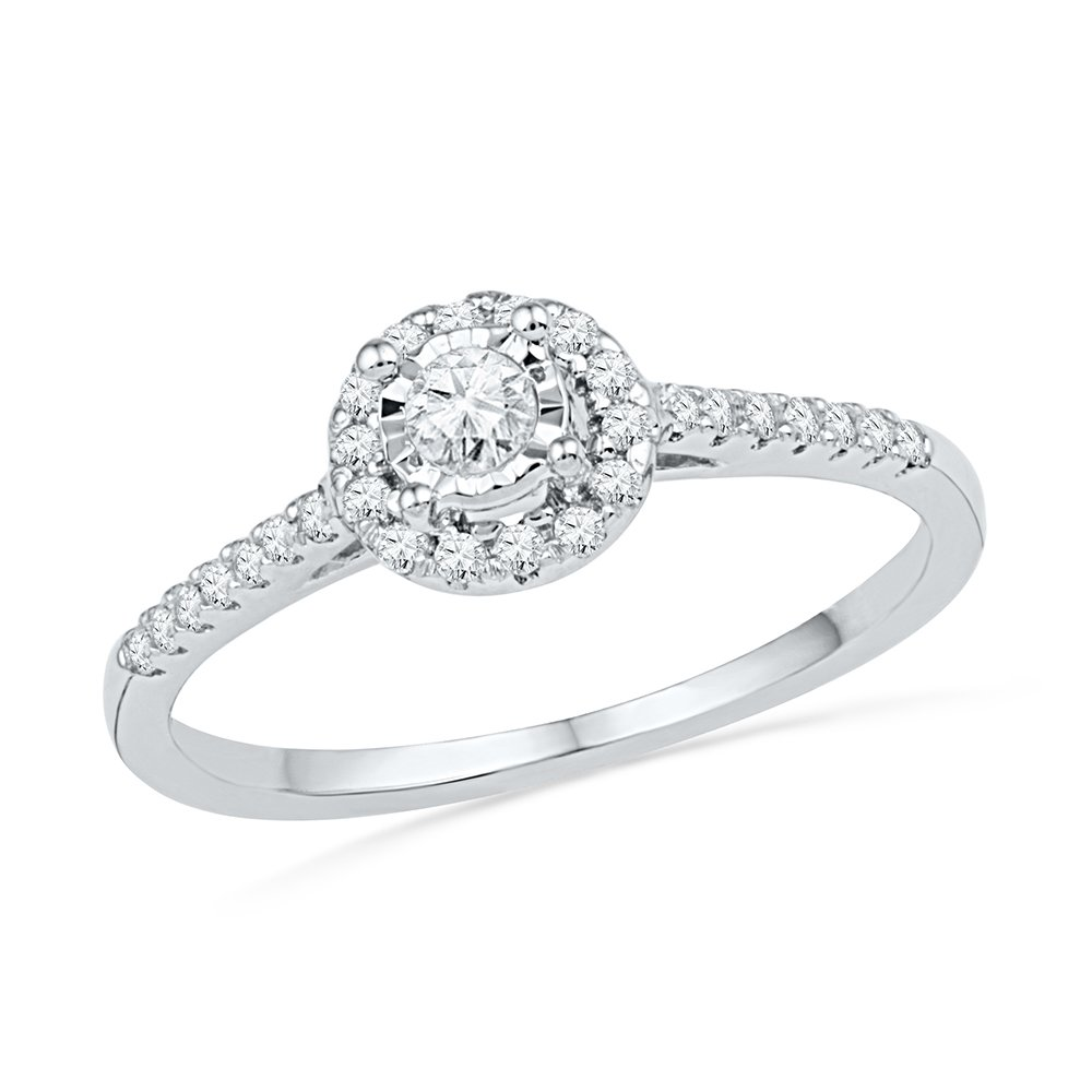 10KT White Gold Round Diamond Promise Ring (1/4 cttw) by D-GOLD