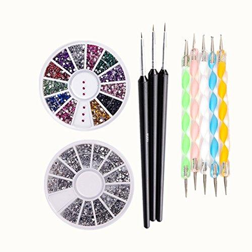 Nails 2000 Pc - Artlalic Nail Art Set Kit With 2000 Pcs 1.5mm Round Glitter, 3000Pcs 1.5mm Assorted Colors Round Glitter, 3PCS/1Set Nail Art Brushes and 5 Pcs Professional 2-Way Nail Dotting
