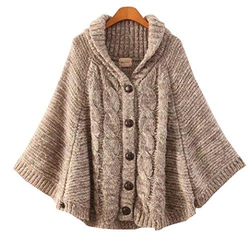 Wendy レディース ニットショール 厚いセーター マントコート 秋 冬のセーターのマント