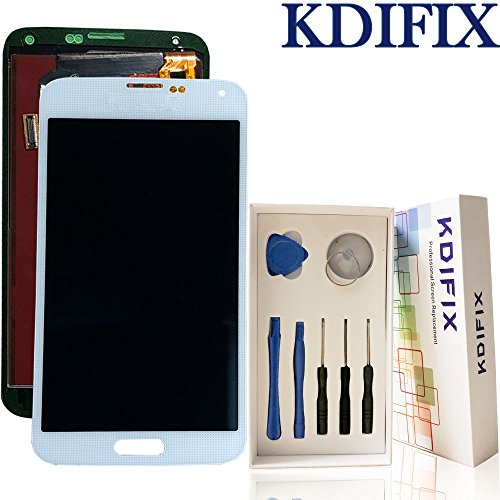 KDIFIX for Samsung Galaxy S5 i9600 G900A G900T G900V G900P LCD Touch Screen Assembly with Full Professional Repair Tools kit (White)