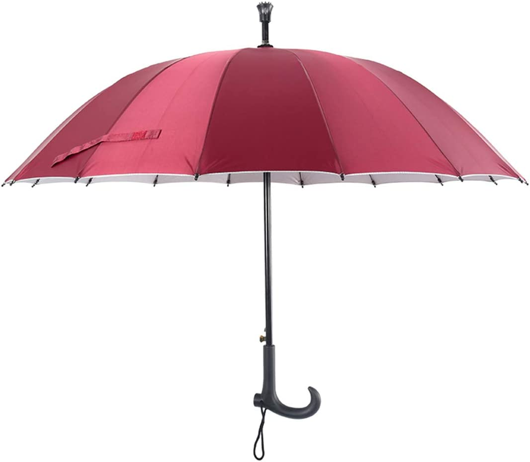 Sunny Rainy Can Be Used As Solid Cane Umbrellas Multi-Functional Mountaineering Alfredch Non-Slip Color : Red