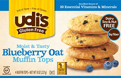- Udi's Gluten Free Moist and Tasty Muffin Tops, Blueberry Oat, Dairy Free and Nut Free, 4 Count (Frozen)
