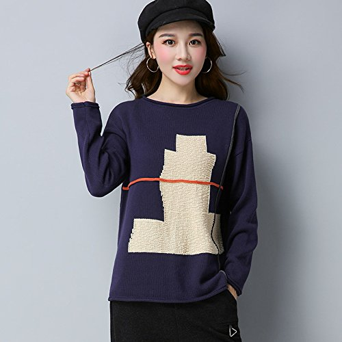Xuanku Les Femmes Tricoté T-Shirt De La Géométrie du Mot pour Le Sertissage à Manches Longues des Femmesm,Navy