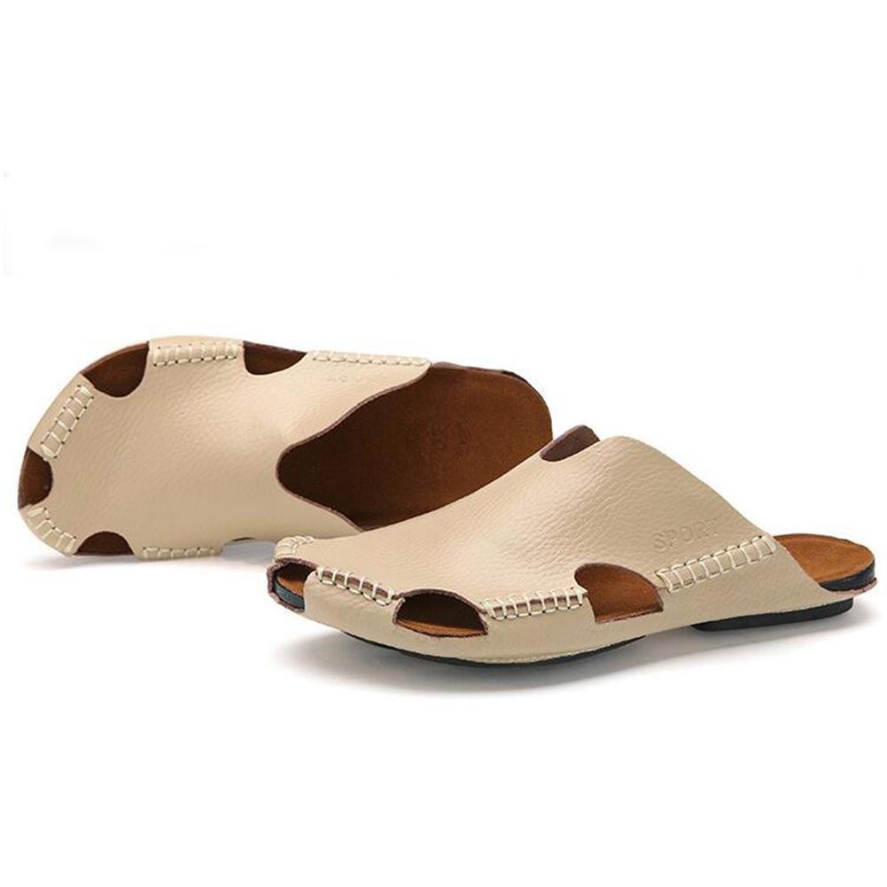 Männer Leder Slipper handgefertigte Vintage Flip Flops Front Paket Sandalen Mode und komfortabel , meters white , 40