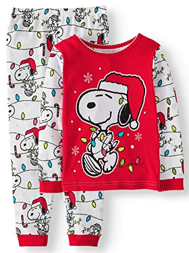 Peanuts Snoopy Little Girls Toddler Christmas Pajama Set (2T) ()