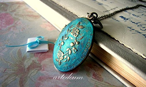 Personalized Necklace Locket in blue patina with floral wreath lid and custom message