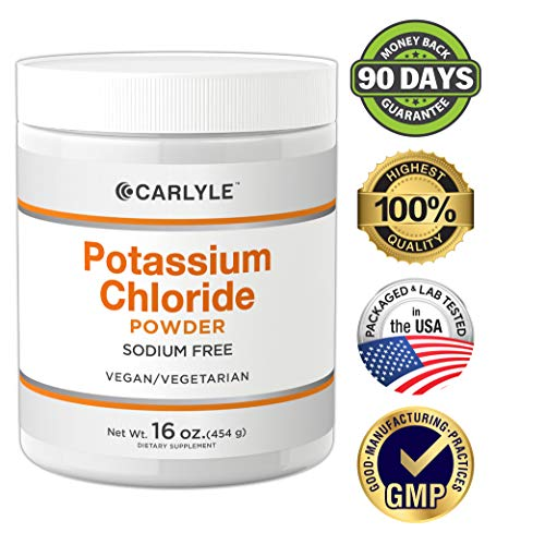 Carlyle Potassium Chloride Powder | 16 oz | Non-GMO, Vegan, Vegetarian,  Gluten Free, Table Salt Substitute | Food Grade KCL Supplement