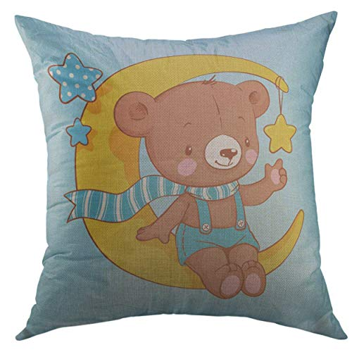 Sitting Bear Case - Mugod Pillow Case Blue Graphic Cute Baby Bear Sitting on The Moon Cartoon Celebration Greeting Summer Teddy Square Throw Pillow Cover for Men Women Kids Cushion Cover 20x20 inch
