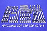 ALLOYBOLTZ - AMC/ JEEP 290 304 343 360 390 401 V-8 STAINLESS STEEL ENGINE HEX BOLT KIT SET