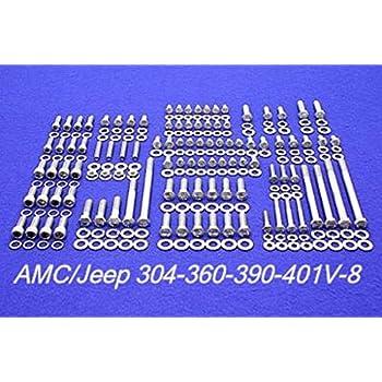AMC// JEEP 290 304 343 360 390 401 V-8 VALVE COVER STAINLESS STEEL BOLT KIT