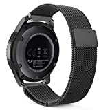 MoKo Gear S3 Watch Band, Milanese Loop Stainless Steel Mesh Smart Watch Strap for Samsung Gear S3 Frontier / S3 Classic / Moto 360 2nd Gen 46mm Smartwatch, BLACK (NOT FIT S2 & S2 Classic & Fit2)