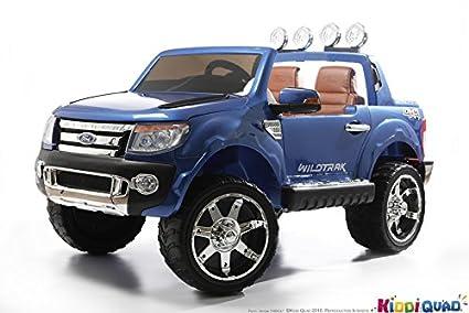 Ford - Coche eléctrico para niños, Ford Ranger, 2 plazas, 12 V, 2 motores, color azul metalizado