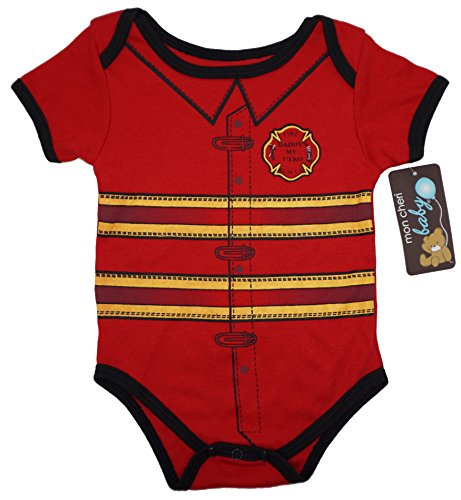 Cute Firefighter Costumes (THE FIREMAN Funny Baby Boy Girl Novelty Uniform Costume Onesie - Cute Bodysuit)