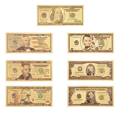 Lots 7Pcs Set Golden Foil Dollar Banknote  100 50 20 10 5 2 1 Commemorative Collections
