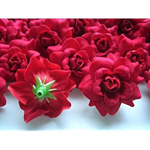"""(24) Silk Red Roses Flower Head - 1.75"""" - Artificial Flowers Heads Fabric Floral Supplies Wholesale Lot for Wedding Flowers Accessories Make Bridal Hair Clips Headbands Dress 2"""