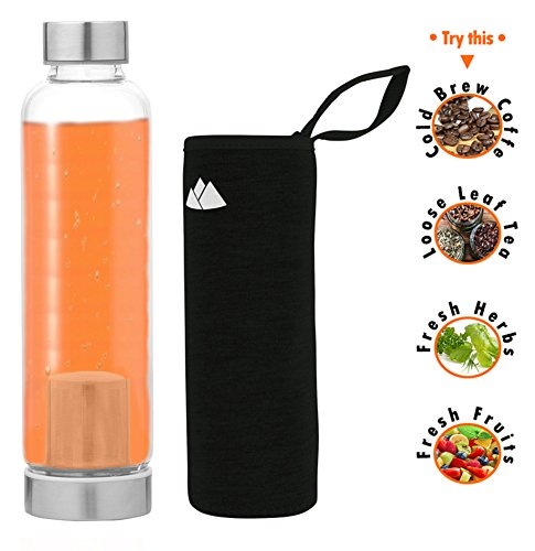 Herbal Fruit Glass Tea Infuser Travel Mug 550ML - Loose Tea Fruit Infuser Water Bottle Tumbler Commuter-Mug for Hot | Cold Brews includes Trendy Black Insulated Neoprene Sleeve 18.5 oz.