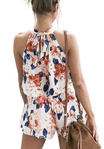 5e604807c68 Assivia Women 2 Pieces Outfits Floral Print Halter Neck Crop Tops Jumpsuit  Rompers Playsuits  Amazon.ca  Clothing   Accessories
