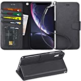 Arae Wallet Case Designed for iPhone xr 2018 PU Leather flip case Cover [Stand Feature] with Wrist Strap and [4-Slots] ID&Credit Cards Pocket for iPhone Xr 6.1 inch -Black