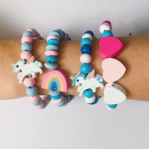 Unicorn Bracelet Kit, Wooden Beads, Jewelry Making Charm, Gift from HappyPeople