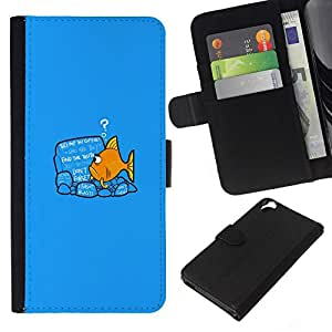 NEECELL GIFT forCITY // Billetera de cuero Caso Cubierta de protección Carcasa / Leather Wallet Case for HTC Desire 820 // Divertido Goldfish Fish