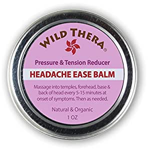 Headache Migraine Relief. Herbal Balm with Essential Oils. Tension Headache, Sinus Headache, Stress Anxiety Relief. Safe to use with Headache Pillow, migraine mask, ice pack, migraine glasses.