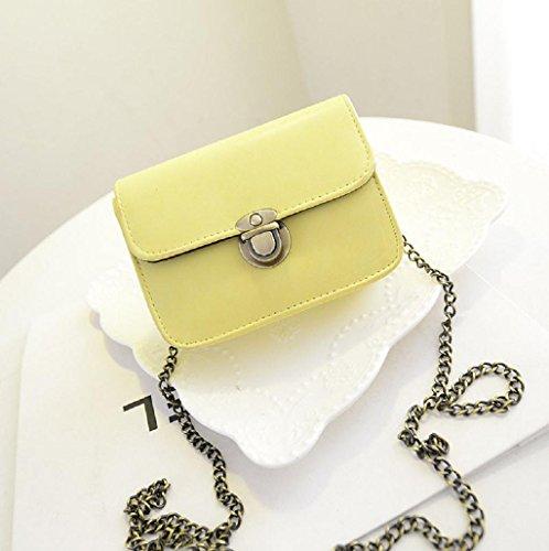 Sannysis® Precioso bolso de cuero de la muchacha; Mini Pequeña bolsa de hombro ajustable (Verde) Amarillo